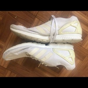 Adidas white running shoes